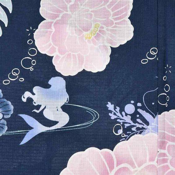Disney Store Japan Ariel Peony Yukata Set Sakura Kimono Dress Little Mermaid Mai