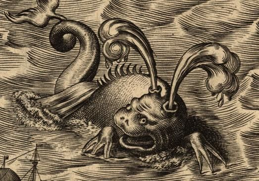 Engraving of a sea monster.
