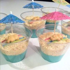 Bear Summer Snacks! Use blue pudding or jello, top with crushed vanilla cookies or vanilla Oreos, use a sour straw for towel, place teddy graham on top and garnish with umbrella. Cute for beach or mermaid party too.