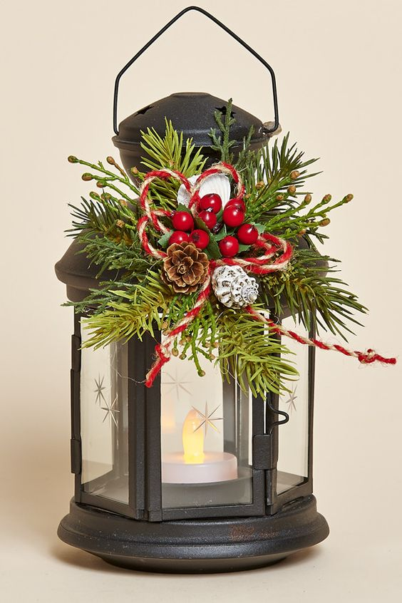 8 black metal lantern with removable holiday collar and for Ikea tea light battery