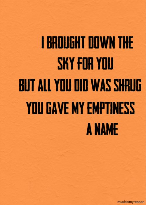 """You Gave My Emptiness A Name"" ......... my favorite lyrics of any Rise Against song ever. Song is Audience Of One."