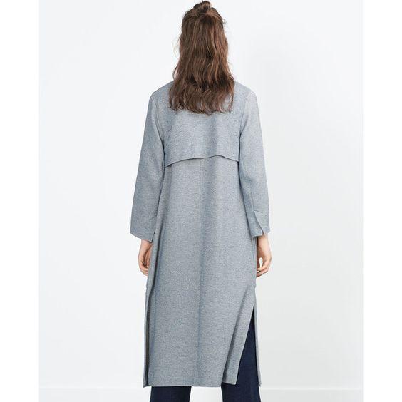 LONG COAT - Coats - WOMAN   ZARA United Kingdom (£5.99) via Polyvore