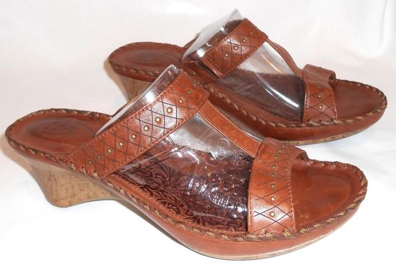 Ariat 10 Sandals Cork Wedge Brown Leather #Ariat #Wedge