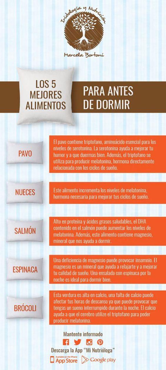 Los 5 mejores alimentos para dormir bien. #infografia #dormir #salud
