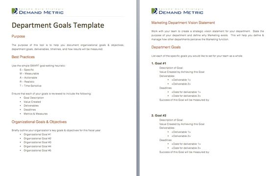 Department Goals Template  A Template To Help You Document