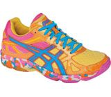 Volleyball Shoes...   Asics Women's B256N Gel-Flashpoint - Orange Flame/Neon Blue/Hot Pink