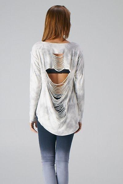 Cross Shredded Fringe Back Sweater Top