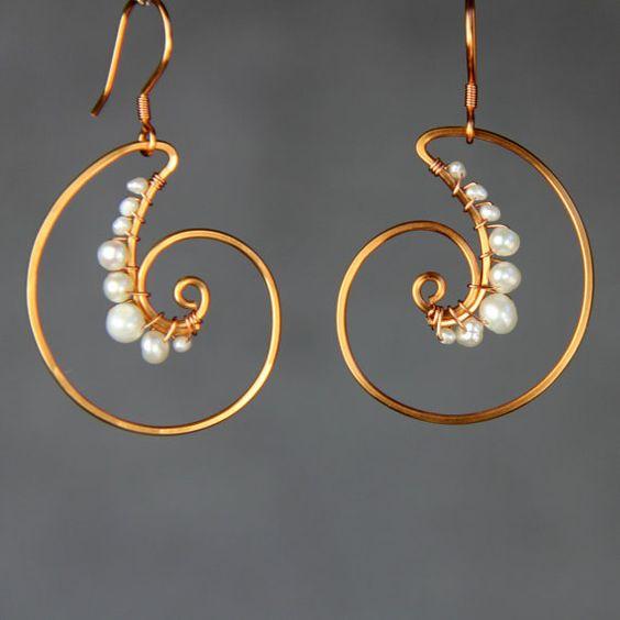 Scroll hoop copper wiring pearl shell hoop от AnniDesignsllc