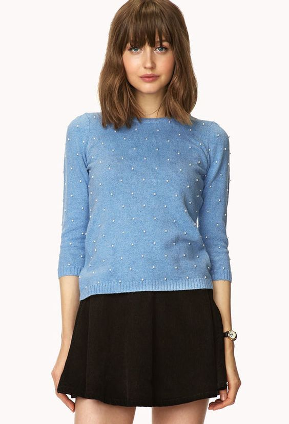 FOREVER 21 Pearlescent Embellished Sweater