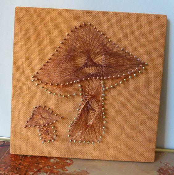 Mushroom String Art Vintage Seventies kitsch by SpaceModyssey: