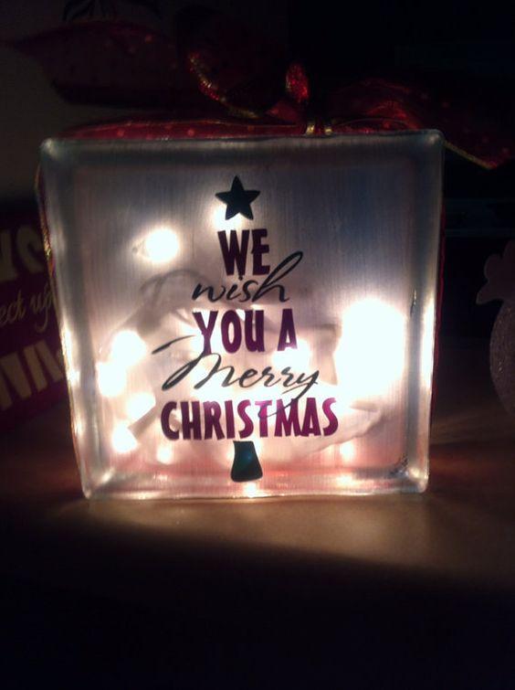 We wish you a merry christmas glass block by allhungupwallart 30 00