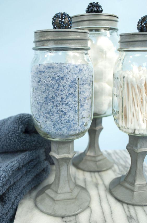 Mason jar storage jar storage and mason jars on pinterest for Mason jar bathroom ideas