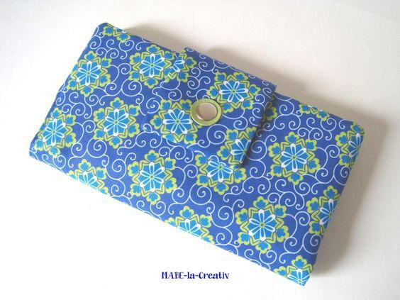 """Portemonnaie, Geldbörse """"Flower"""" - blau-grün von © MABE la Creativ  auf DaWanda.com"""