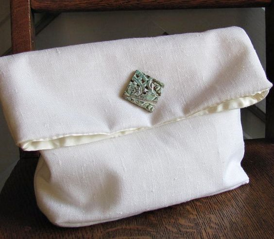 White Foldover Clutch with Aqua Raku Button by 1madwoman on Etsy, $45.00