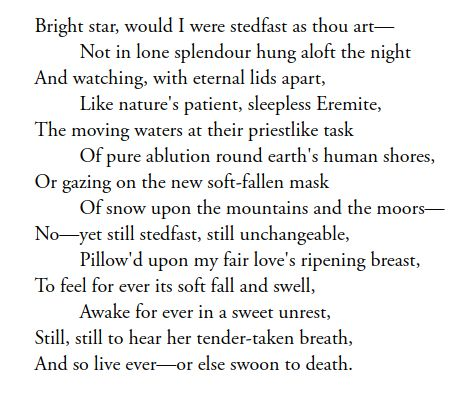 """Bright star, would I were steadfast as thou art"" BY JOHN KEATS"