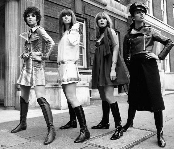 Linda Keith, Chrissie Shrimpton, Suki Poiter, and unknown model in Ossie Clark designs. 1967.