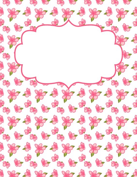 Free printable pink flower binder cover template. Download the cover in JPG or PDF format at http://bindercovers.net/download/pink-flower-binder-cover/
