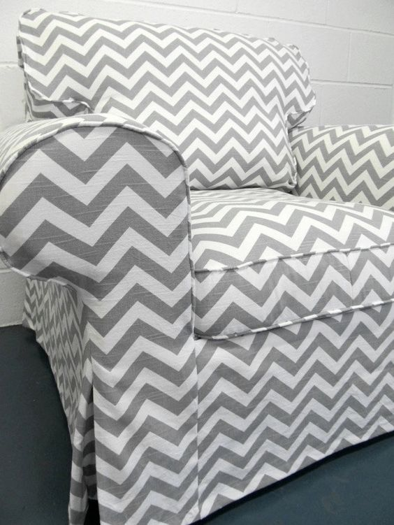 Custom Ikea Ektorp Armchair Slipcover In Gray Chevron A Plan For Our House Pinterest Diy