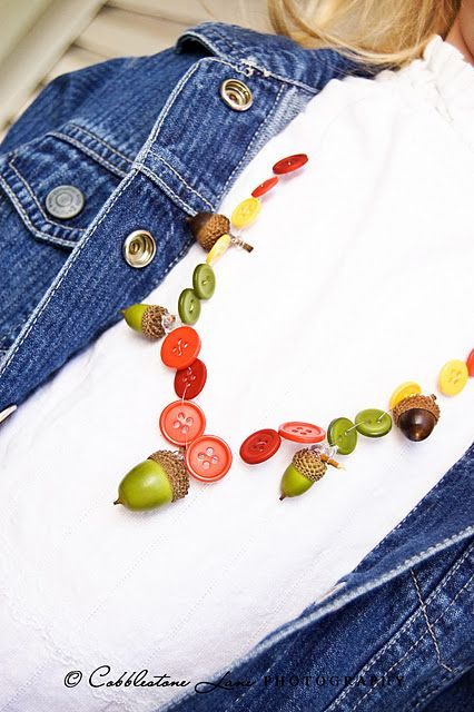 If your yard is overrun by acorns, use some othese to make these Acorn Necklaces from The Nature of Grace