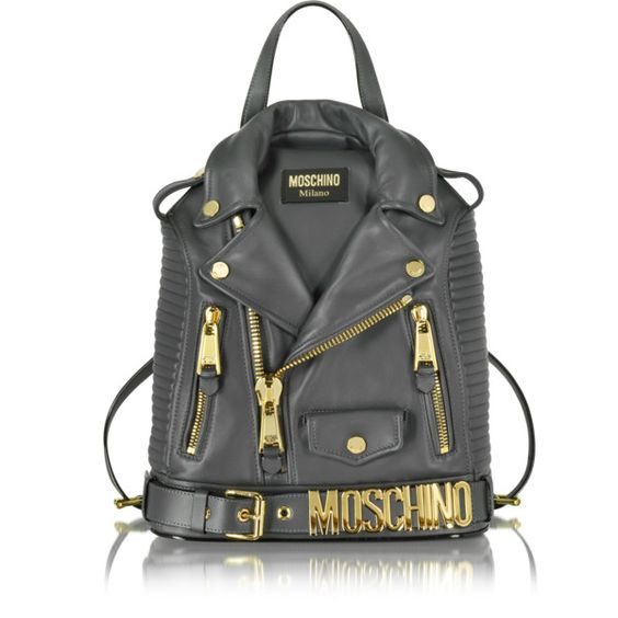 Moschino Dark Gray Nappa Leather Backpack ($2,295) ❤ liked on Polyvore featuring bags, backpacks, borse, purses, zipper bag, hardware bag, rucksack bags, moschino and zip bag