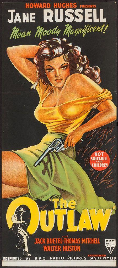 "The Outlaw (RKO, R-1950). Australian Daybill (13"" X 30""). Western. Starring Jane Russell, Jack Beutel, Thomas Mitchell, Walter Huston, Mimi ..."