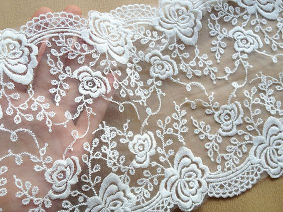 White Venice Trim Lace Beautiful Embroidered by prettylaceshop, $6.29