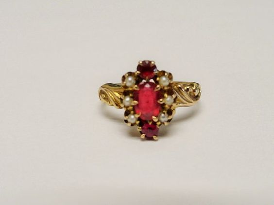 Antique style édouardien Nouveau 14k or rubis par TimesPastJewelry1