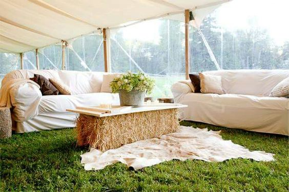 Haybail furniture for country wedding