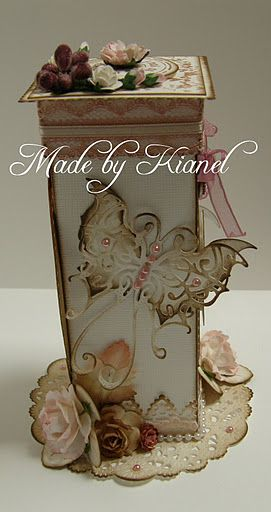 beautiful box with die cuts and layered flowers..check out the gallery