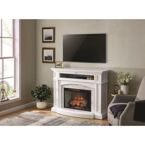 Scott Living 52 5 In W White Infrared Quartz Electric Fireplace At