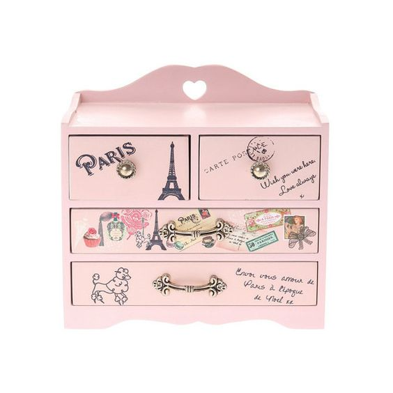 Pretty Pink Paris Jewelry Box | Claire's ($35) ❤ liked on Polyvore featuring home, home decor, jewelry storage and claire's