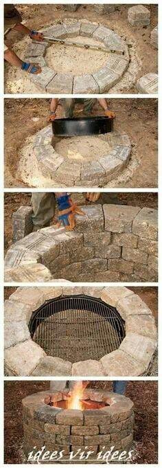Garden ideas. DYI firepit.