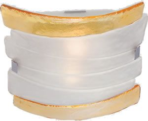 Eurofase Fluid 2-Light Flush Ceiling Light 12617 - Glass Flush Mount Ceiling Lighting - Ribboned saffron yellow glass is the edging to a frosted white glass center in a family that appears almost weightless with the freedom of the design.  Brand Lighting Discount Lighting - Call Brand Lighting Sales 800-585-1285 to ask for your best price!