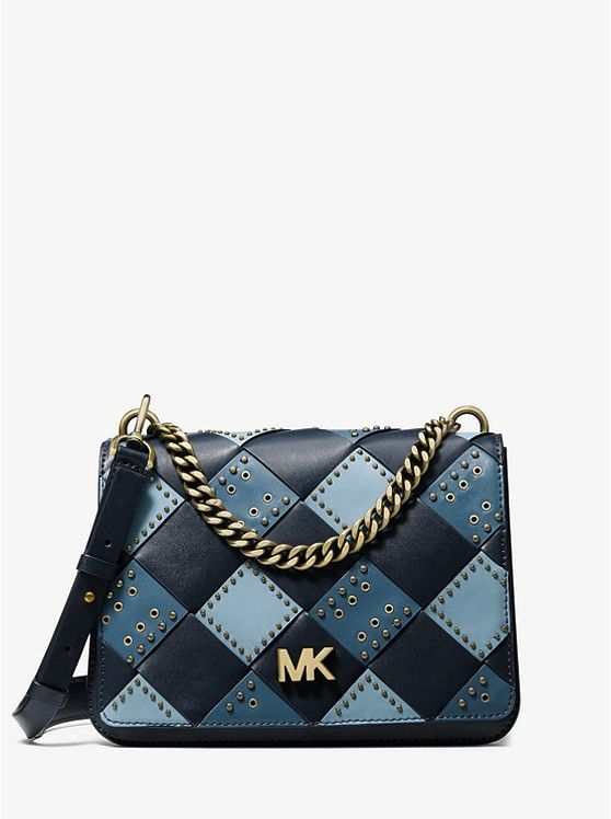 Mott Large Embellished Patchwork Leather Crossbody Bag Michael Kors Women S Designer Wallets Leather Crossbody Bag Leather Crossbody