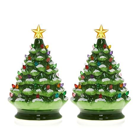 Winter Lane Set Of 2 Lighted Musical Ceramic Christmas Trees 8654421 Hsn Ceramic Christmas Decorations Ceramic Christmas Trees Green Christmas Tree