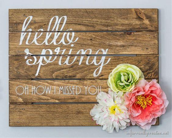 "DIY ""Hello Spring"" Sign:"