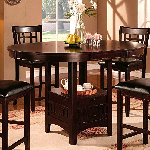 Cappuccino Dining Table Counter Height Oval Shaped Expandable
