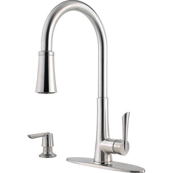 Price Pfister GT52-9MDS Mystique Single Handle Pull-Down Spray Kitchen Faucet 1.8 GPM, with Soap Dispenser Stainless Steel-eFaucets.com