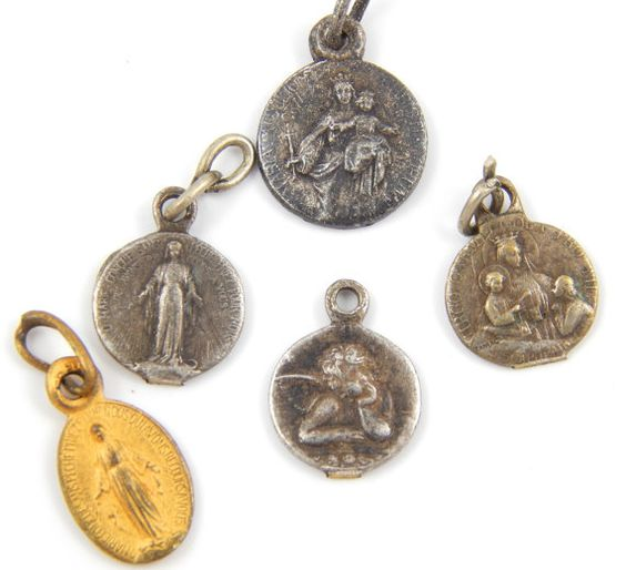 Vintage Catholic Medal Lot Virgin Mary, Lady of Mount Carmel, Miraculous Medal, Guardian Angel - Signed Tarairac - Religious Charms by LuxMeaChristus