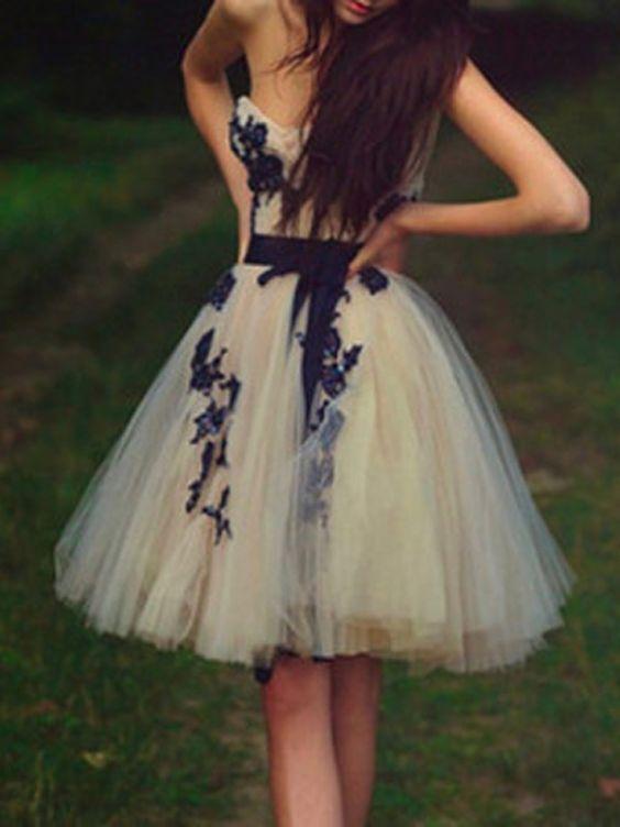 Knielang Tüll Abschlusskleider Abiballkleider