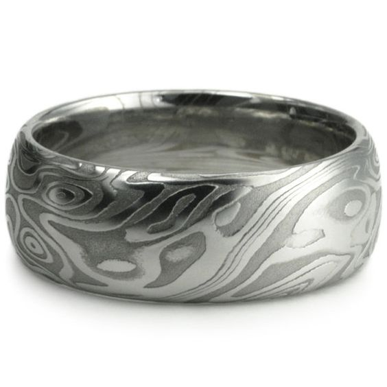 Damascus Steel Wide Mens Wedding Band Four Pointed Swirling Star Pattern With Unique Organic Woodgrain. Bold Masculine Handmade Ring.
