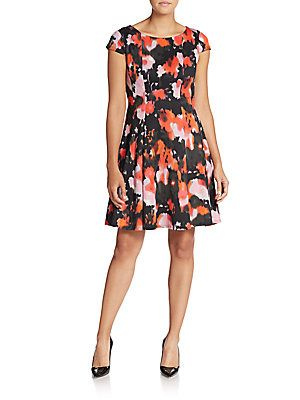 Abstract-Print Fit-And-Flare Dress - SaksOff5th