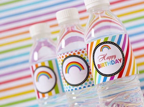 PRINTABLE DIY Water Bottle Label DIY  Rainbow