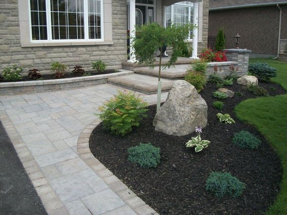 front yard with driveway landscaping ideas. Black Bedroom Furniture Sets. Home Design Ideas
