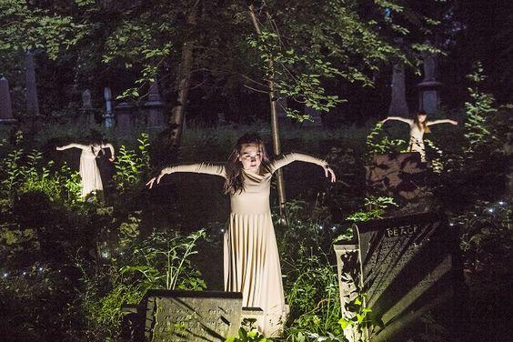Circa performing 'Depart'at Tower Hamlets Cemetery. Photo: Tristram Kenton