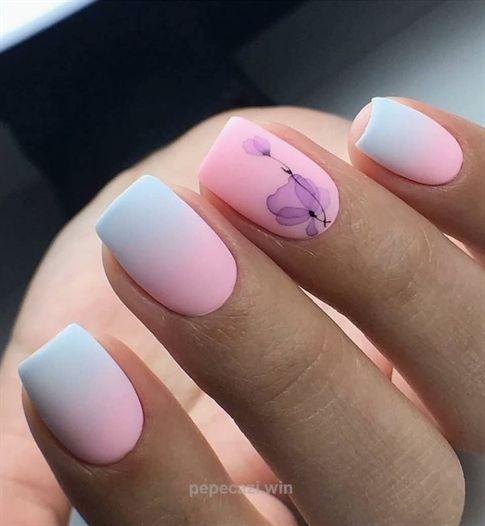 50 Cute Short Acrylic Square Nails Design And Nail Color Ideas For Summer Nails Matte Nails Design Nail Art Ombre Square Nail Designs