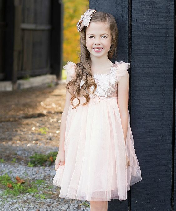 Coral & Gold Sequin Sparkle Dress - Toddler & Girls by Just Couture #zulily #zulilyfinds