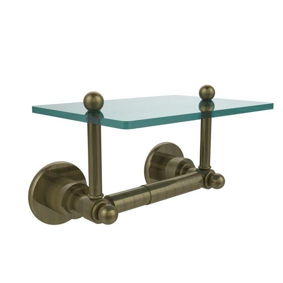 Allied Brass Astor Place Collection Double Post Toilet Paper Holder with Glass Shelf in Antique Brass