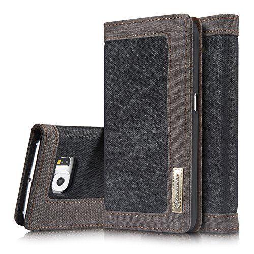 Roreikes Coque Samsung Galaxy S6, [Denim Case Streak portefeuille] véritable Toile Premium flip Cover Case Denim Folio, Slim avec fonction…