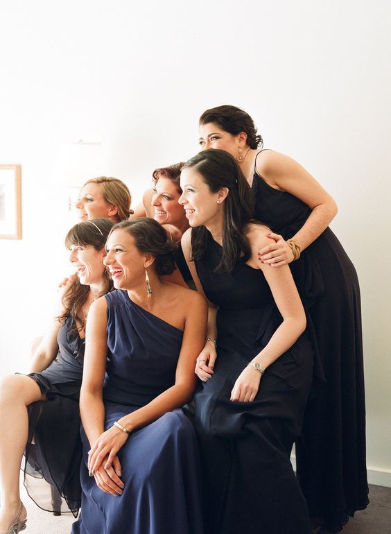 navy bridesmaids gowns